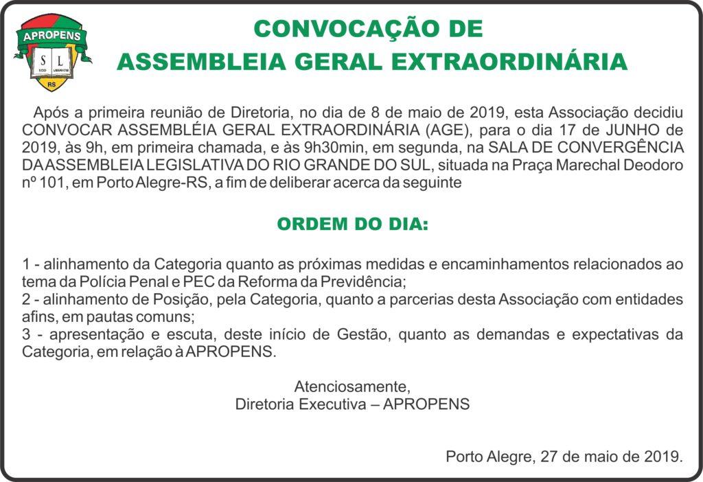 Convocação Assembleia Geral Extraordinária jun19
